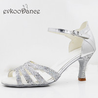 Professional Zapatos De Baile Heel Height 7cm silver pu with glitter Latin Dancing Shoes For Women Size US 4 12 NL277