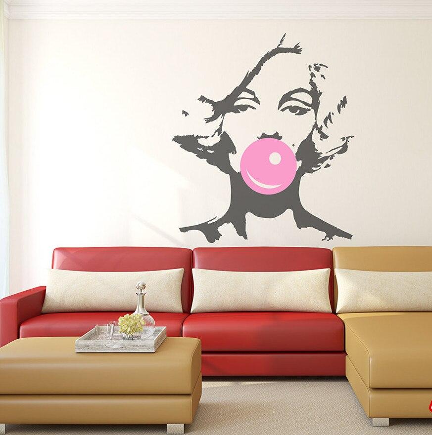 marilyn monroe bubble gum beauty hair salon wall decal sticker woman girl vinyl interior home. Black Bedroom Furniture Sets. Home Design Ideas