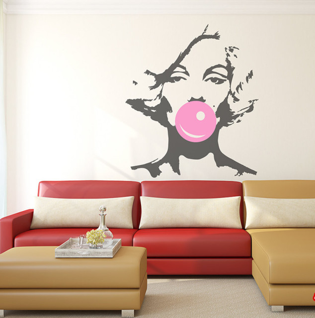 Marilyn Monroe Bubble Gum Beauty Hair Salon Wall Decal Sticker Woman ...