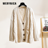 Werynica Long Cardigan Women Long Sleeve Knitted Sweater Cardigans Spring Autumn Womens Sweaters 2019 Hole V neck Cardigan