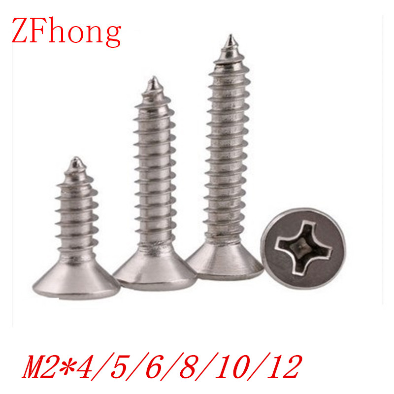 1000pcs m2*4/5/6/8/10/12/14 stainless steel 304 flat countersunk head self tapping <font><b>screw</b></font> image