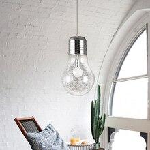 Aluminium Wire Silver Glass Bulb Home Bar Restaurant Hanging Pendant Light