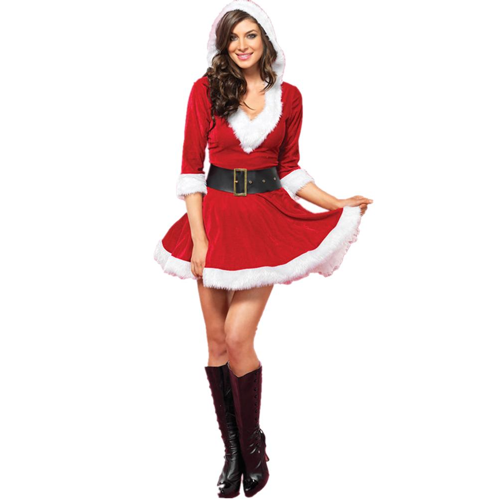 2018 New Christmas Women Sexy Dress For Party Costume COS Performance Clothing Santa Adult Costume Party Clothing Supplies