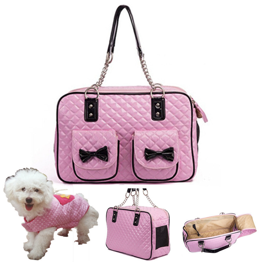 Pet Carrier Pink Leather Dog Bags Medium Traveling Bag Outdoor Carrying Sling Tote Handbags With Bows Whole In Carriers Strollers