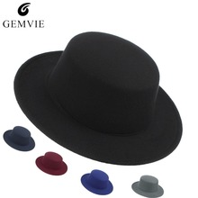 Fashion Solid Color Fedoras for Men Women Wool Blend Jazz Cap Wide Brim Flat Top Top Hat Unisex Wool Blend Fedora Hat