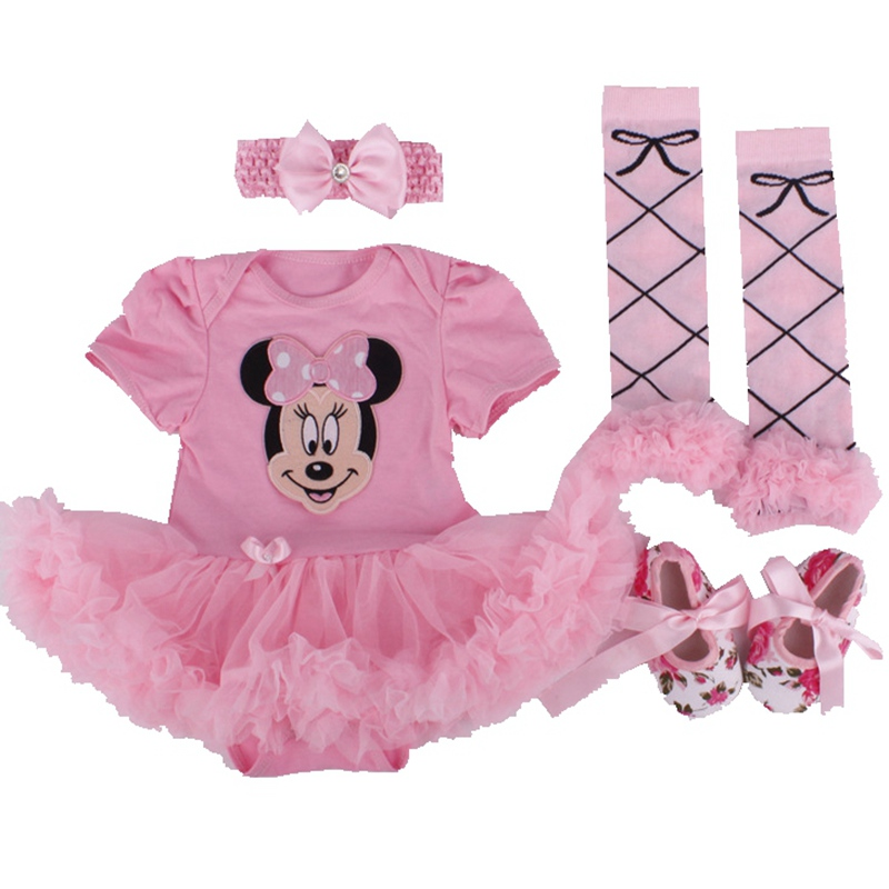 Minnie Short Sleeve 4PCS Newborn Baby Girl Tutu Sets Bodysuit Crib Shoes Headband Leg Warmers Infant Tutu Clothing Sets for Baby