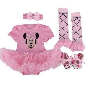 Minnie z krótkim rękawem 4 sztuk noworodka dziewczynka Tutu zestawy body łóżeczko dziecięce buty z pałąkiem na głowę getry dziecięce Tutu odzież zestawy dla dziecka