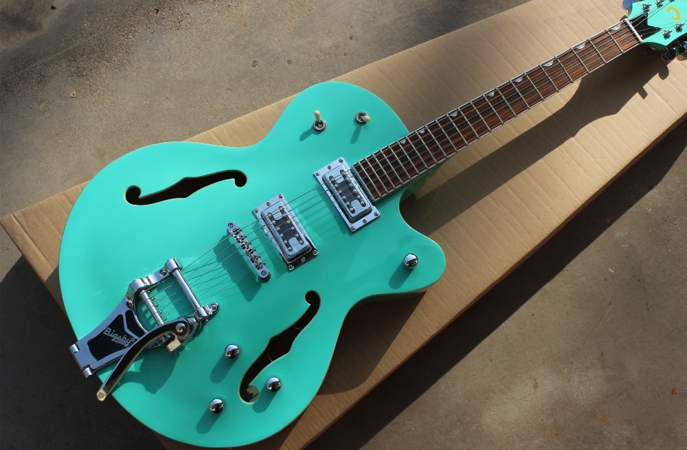 Wholesale Vicers custom Hollow Body Jazz Electric Guitar green color F-hole with chrome hardware! high quality custom shop lp jazz hollow body electric guitar vibrato system rosewood fingerboard mahogany body guitar