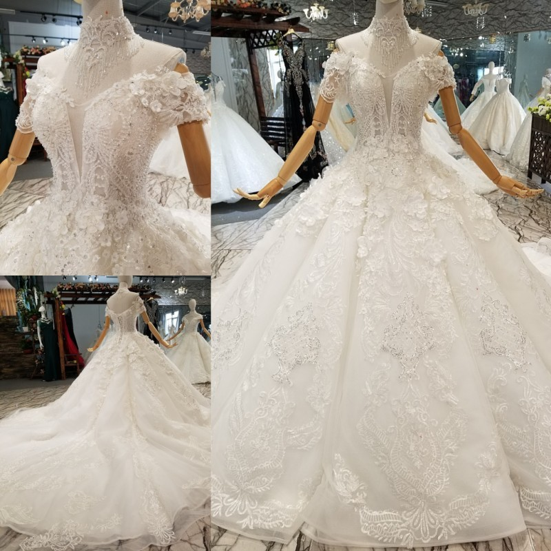 Ivory Lace Bodice Ball Gown Wedding Dress With Sheer Long: Lace Ball Gowns Wedding Dresses 2018 Merry Custom Made