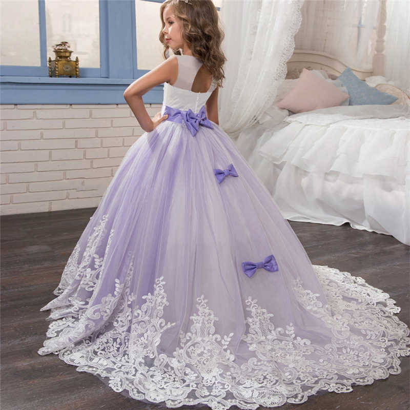 e1bf19e463 Embroidery Floral Dress for Children Princess Formal Dresses Flower Kids  Wedding Evening Prom Gown Girls Xmas Party Clothing