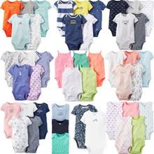 Chivry 5Pcs/lot Newborn Baby Bodysuit Boys Girls 100% Cotton Short Sleeve O-neck Cute Print Jumpsuit Infant Clothing