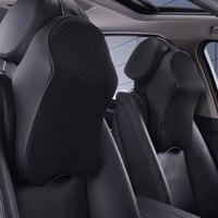 Dewtreetali New Auto 3D Space Memory Foam Car Leather Neck Pillow Head Restraint Car Headrest Pillow
