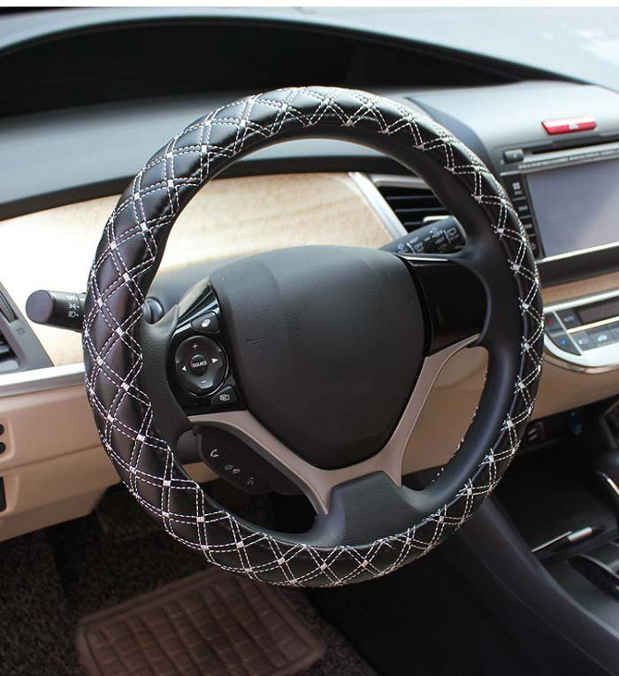 38cm Universal Car Steering Wheel Cover antislip fashion check design microfiber pu leather Wh ...