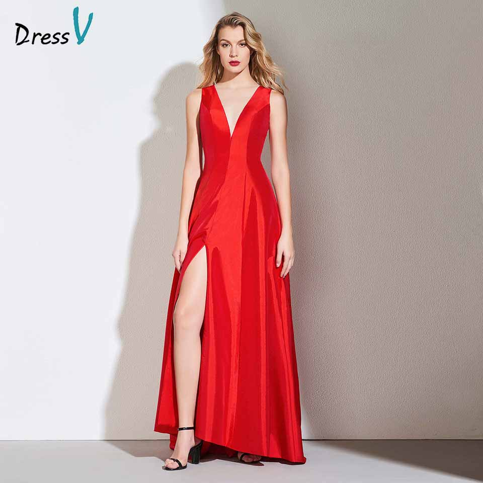 Dressv red elegant long prom dress v neck a line sleeveless floor length split-front evening party gown prom dresses customize