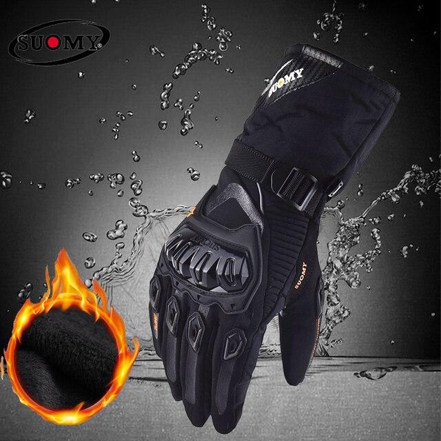 Suomy 送料無料冬暖かい moto rcycle 手袋 100% 防水防風 Guantes moto Luvas タッチスクリーン moto siklet Eldiveni