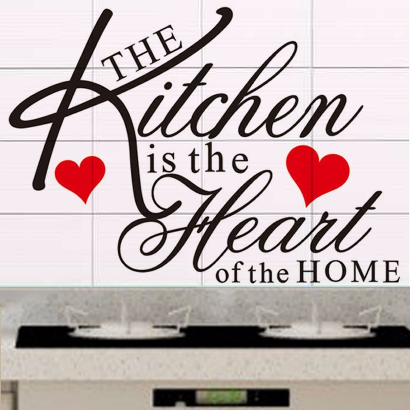 T040042 The Kitchen Is The Heart Of The Home Quote Wall Decal Removable  Vinyl Wall Sticker