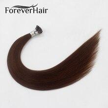 """Волос навсегда 0.8 г/локон 18 """"Реми Наконечники I человека Наращивание волос темно-коричневый #4 бразильские человеческие Наращивание волос 100% Человеческие волосы fusion 40 г"""