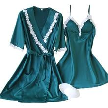 Summer Style Women's Robe & Gown Set Free Shipping 2017 Big Size M L XL XXL Bathrobe + Nightdress Two Pieces Satin Sleepwear Hot