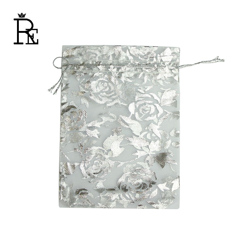 RE 100pcs/lot 7x9cm - 20x30cm Rose Silver Bronzing Organza Bags White Jewelry Packaging Bags Wedding Favor Gift Candy Pouches