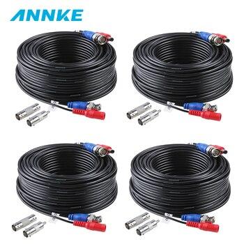 ANNKE 4 sztuk dużo 30M 100 stóp CCTV BNC wideo kabel zasilający do kamery CCTV kamera AHD DVR System bezpieczeństwa czarny nadzoru akcesoria