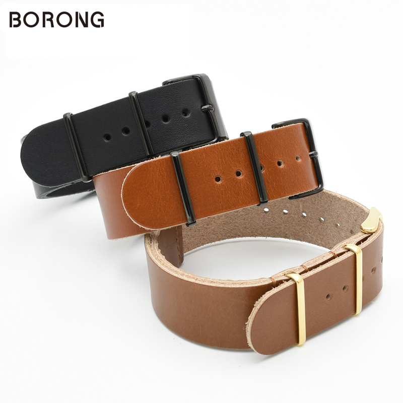 BORONG ZULU Leather Watchband NATO Watch Band Strap 22mm Sliver Gold Black Ring Buckle Men Women High Quality Watch Accessory new design watchband 20 24 26 27 mm for diesel watch dz7313 dz7322 dz7257 men s women s watchbands with sliver buckle