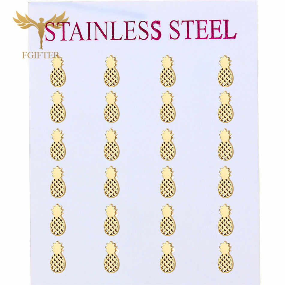 FGifter Cute Pineapple Earrings Lots Kids Girls Stainless Steel Jewelry Earring Small Studs Women Children Gifts 12 Pairs