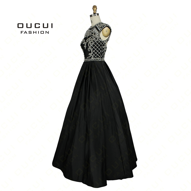 a5947c2b71cfd Taffeta Fabric 100% Handwork Sexy Design Black Color Long crystal ...