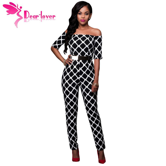 c4ccdb7d2 Dear-Lover Jumpsuit Long Fashion Monochrome Print Black Belted Off Shoulder Romper  Overalls for Women