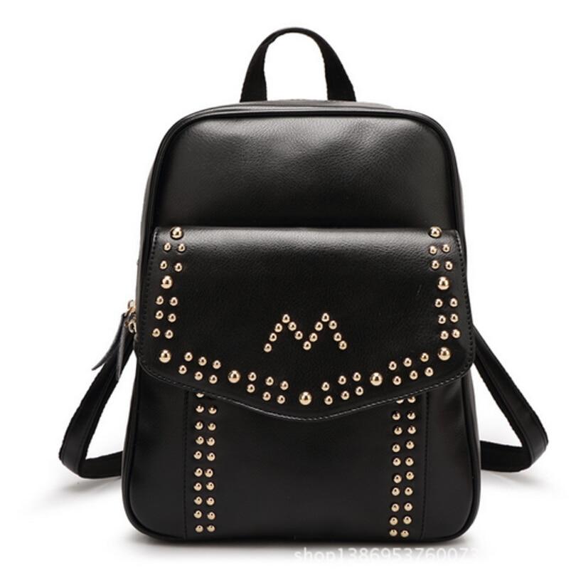 ФОТО Women Leather Backpacks Rivet Shoulder Kanken Backpacks For College Designer Female School Bag For Girls 2015 New Bolsos Mochila