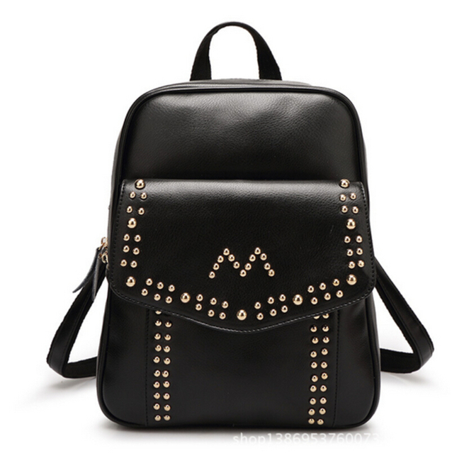 Aliexpress.com : Buy Women Leather Backpacks Rivet Shoulder Kanken ...