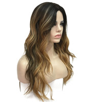 StrongBeauty Women's Ombre Wigs Synthesis Natural Long Wavy Brown/Blonde Highlights Full Wig