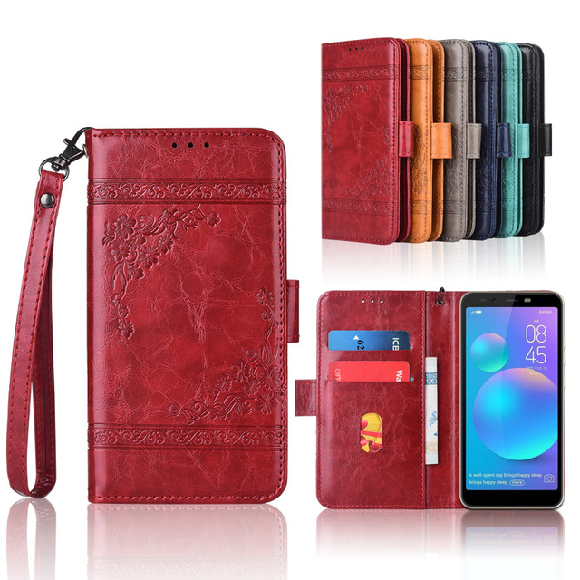 US $3 99 20% OFF|Newest Wallet case for Tecno Camon i Ace Sky Twin POP 1S  Pro case with Strap,100% special PU leather embossing flower Flip case-in