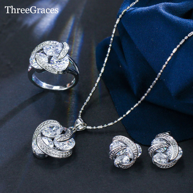 ThreeGraces New Fashion 925 gioielli in argento sterling imposta orecchini zirconi nodo collana e anello per le donne JS124