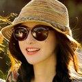 Mujeres del sombrero del sol del verano plegable sombreros de playa ocio paja Trilby color trenza ala tapa