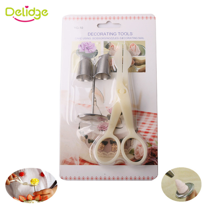 Delidge 4pcs/set Cake Decorating Tools 2 Piping Nozzle 1Cake Scissors For Cream Flower Transfer Tool 1pc Cake Flower Stand Nail