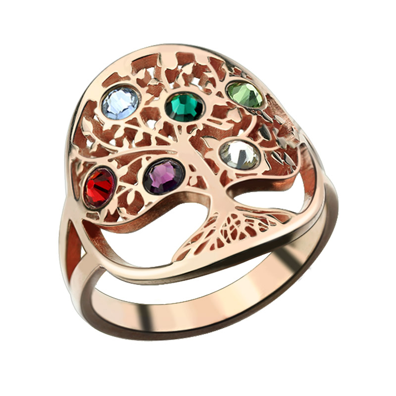 Tree of Life Ring Rose Gold Color Birthstone Ring Sterling Silver Family Tree Ring Custom Mother's Ring ailin engraved family tree birthstone ring cage ring family ring for mom eternity ring rose gold color