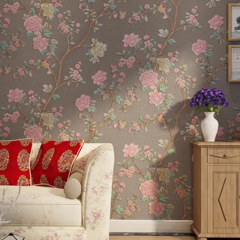 Pastoral Floral Stereoscopic Embossed Wallpaper PVC Flowers Birds Living Room Bedroom Background Mural Wallpaper For Walls Roll vintage country birds and flowers elegant wallcovering bedding room mural wallpaper