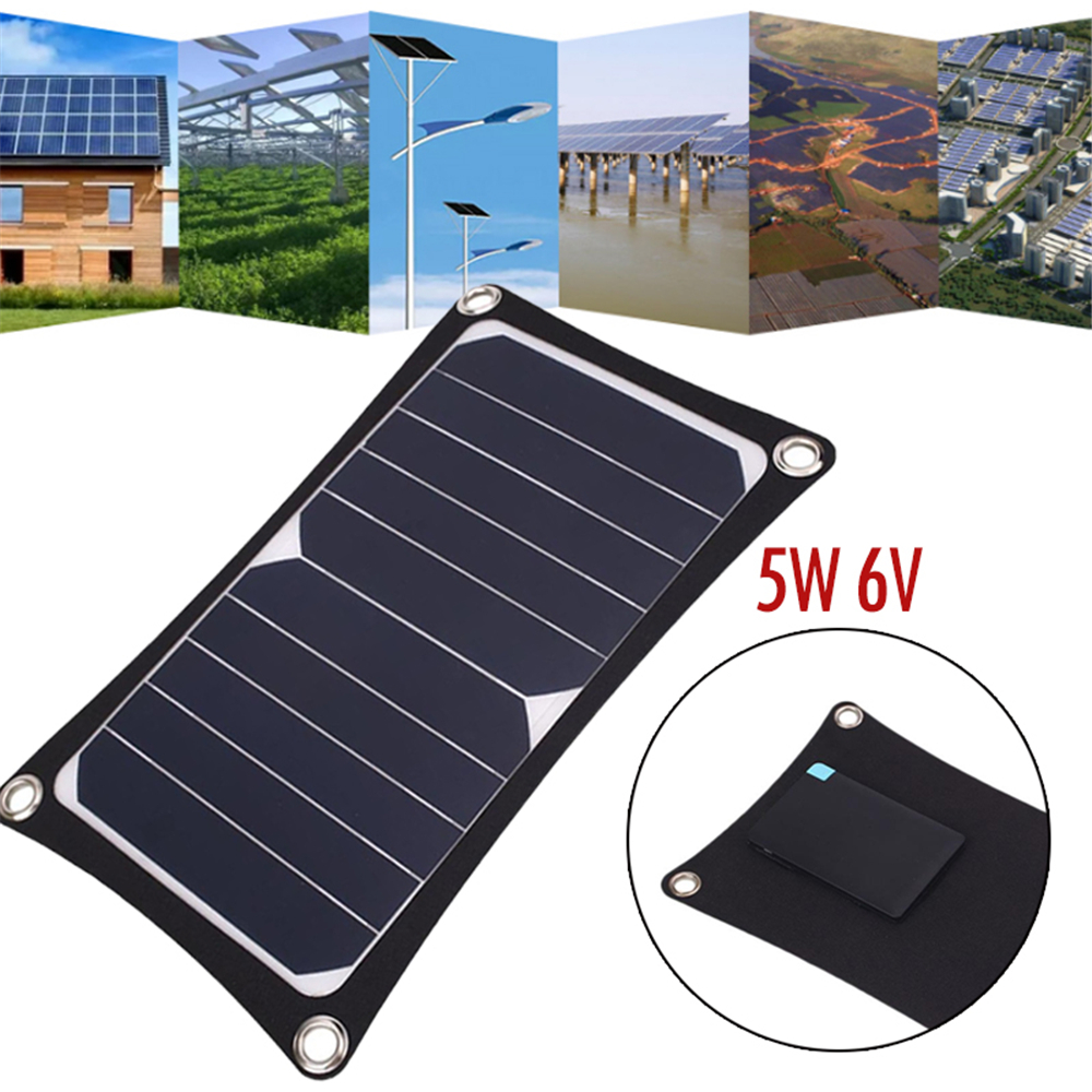 Cewaal Solar Panel External Battery Charger Universal Portable Travel Camping 5W 6V