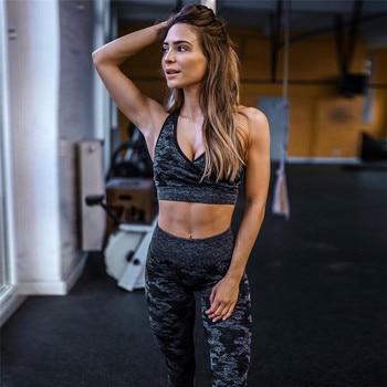 2019 جديد وصول الرياضية اللياقة البدنية النساء 2 أجزاء مجموعة مثير الخامس الرقبة حزام سلس أعلى الصدرية جيد مطاطا طماق طباعة رياضية 1