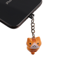 Clanic Cute cartoon cat mobile phone charge port dust plug f