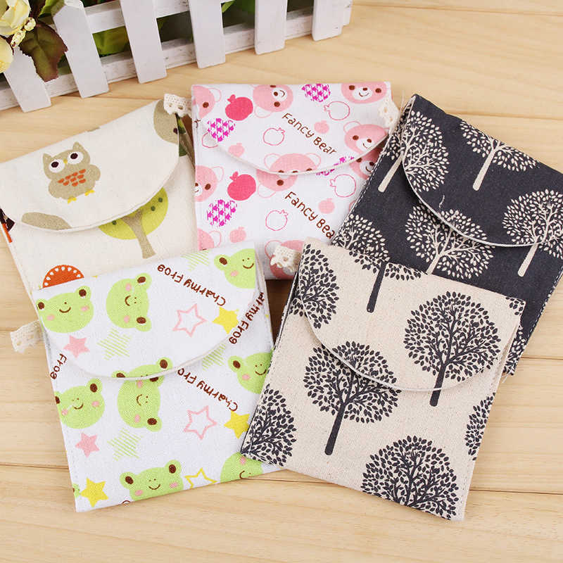 Girls Diaper Sanitary Napkin Storage Bag Canvas Sanitary Pads Package Bags Coin Purse Jewelry Organizer Credit Card Pouch Case 3