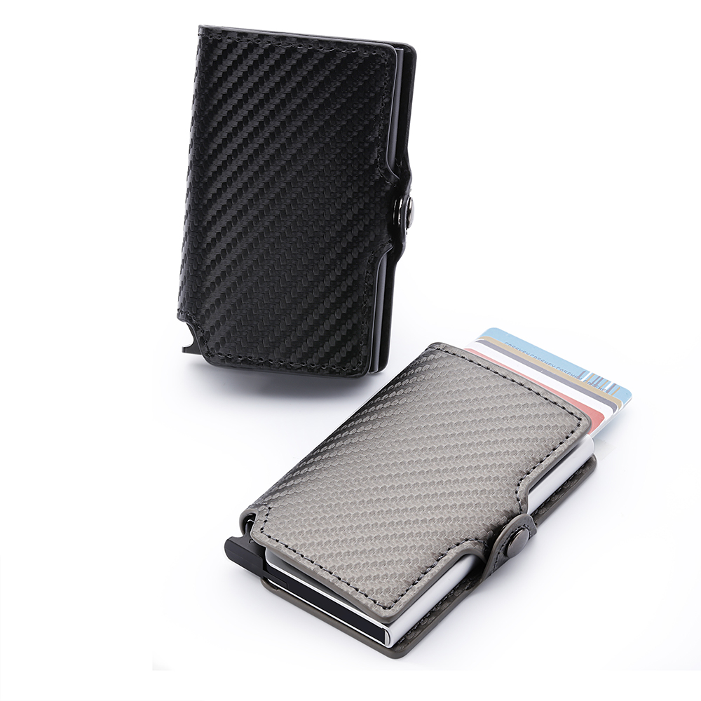 Casekey Luxury Carbon Fiber Rfid Mini Slim Wallet Men Minimalist Bifold Card Holder Wallet Pop Business Card Credit Card Holder travel slim wallet business card