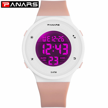 PANARS 2019 New 6 LED Colors Fashion Watches WR50M Waterproof Kids Wristwatch Alarm Clock Multi-function Watches for Girls Boys