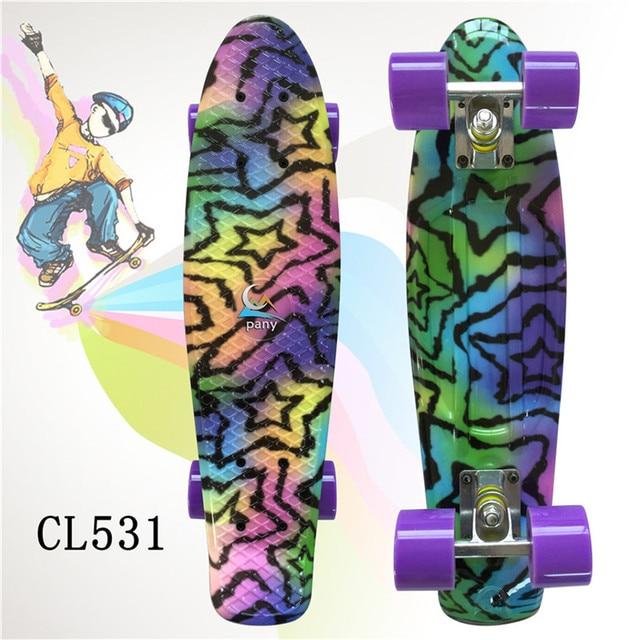 "Plastic Skateboard 22"" Shining color mixed Skate Cruiser Board Plastic Retro Style Banana Skateboard Light Mini Longboard"