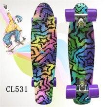 """Plastikowa deskorolka 22 """"lśniący kolor mieszane Skate Cruiser deska z tworzywa sztucznego w stylu Retro Banana deskorolka światła Mini Longboard"""
