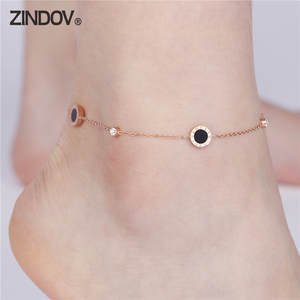 ZINDOV Anklet-Bracelets Stainless-Steel Leg-Jewelry Charms Flower Crystal Rose-Gold Women