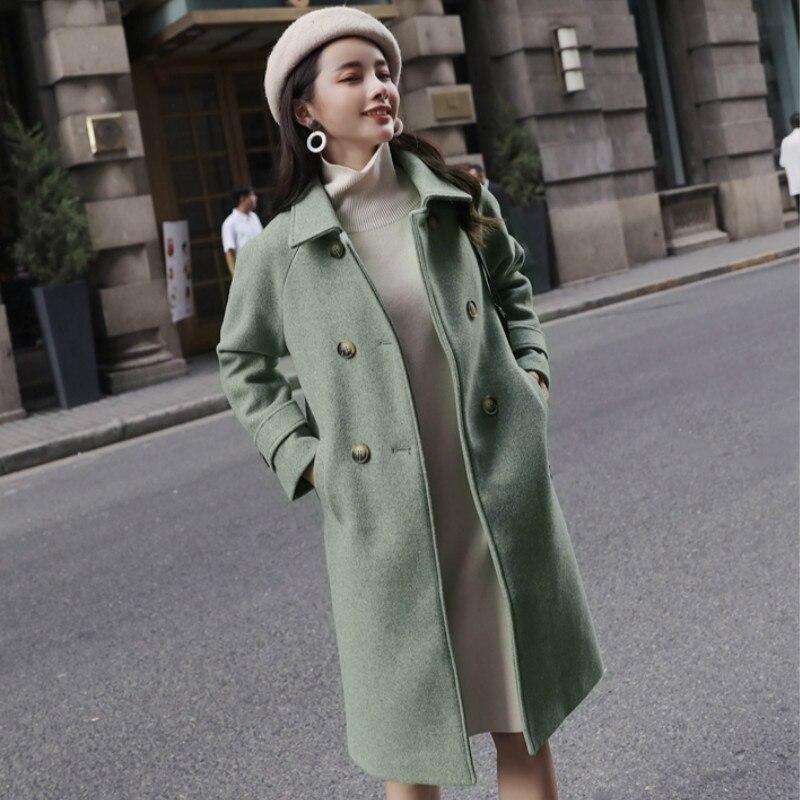 Coréenne Manteau Mode Bleu Taille rose Turn Pleine Bleu Laine Femmes down Long Automne vert La Modis Plus Vert De Manteaux Col Élégante Rose Manches Outwear zBqxw5zUt