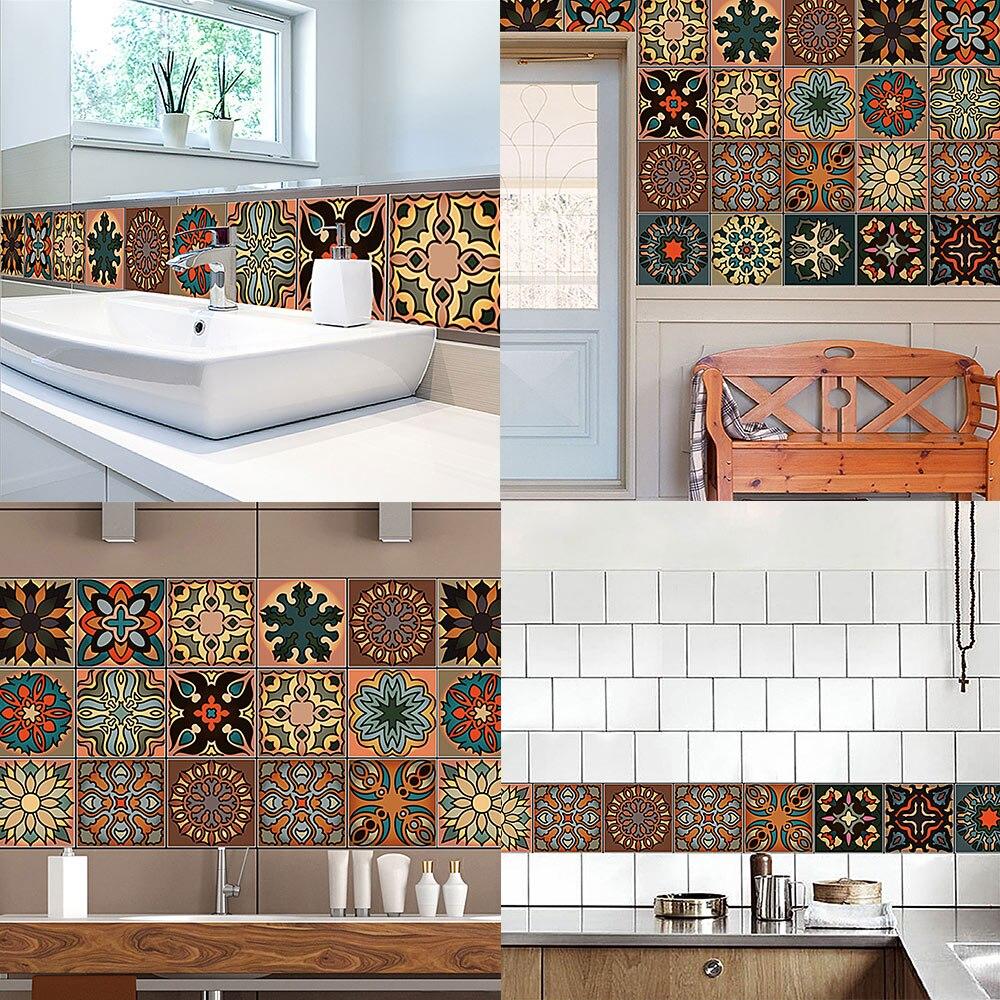Creative Moroccan Style Mirror Wall Sticker Ceramic Tile Modern Art ...