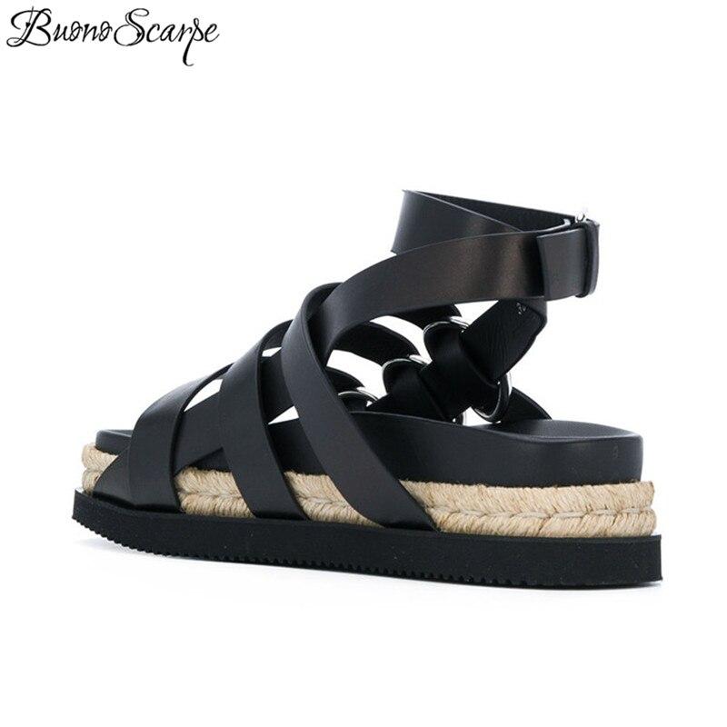 forme La À Bride Cuir De Buonoscarpe Sandales Chaussures blanc Boucles D'été Plage En Casual Cheville Véritable Rome Talons Plate Noir Pêcheur Femmes Grand 5ETwddqx