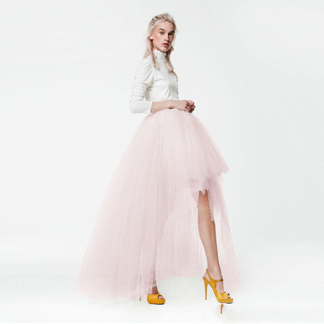 Top Fashion High Low Tüll Röcke Frauen Asymmetrische Erröten Rosa ...